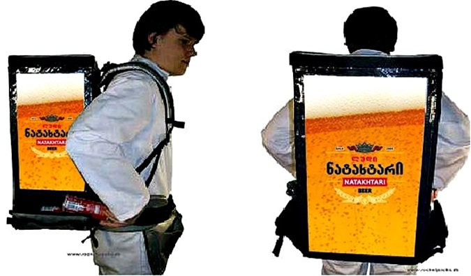portable hawking with beer backpack