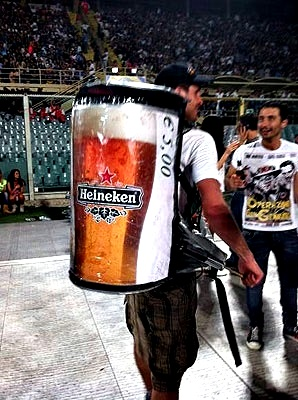 mobile heineken beer hawking in the stadium